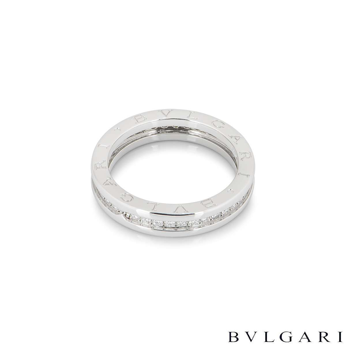 Bvlgari White Gold Diamond Set B.zero1 Ring 329341